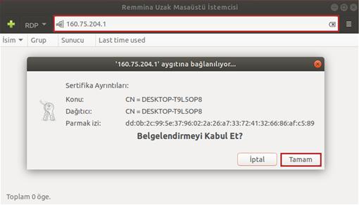 Linux'dan Windows Masaüstüne Bağlanma (Remmina)